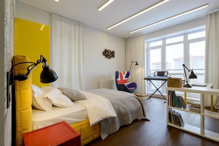 современный дизайн комнаты для подростка в желтом цвете