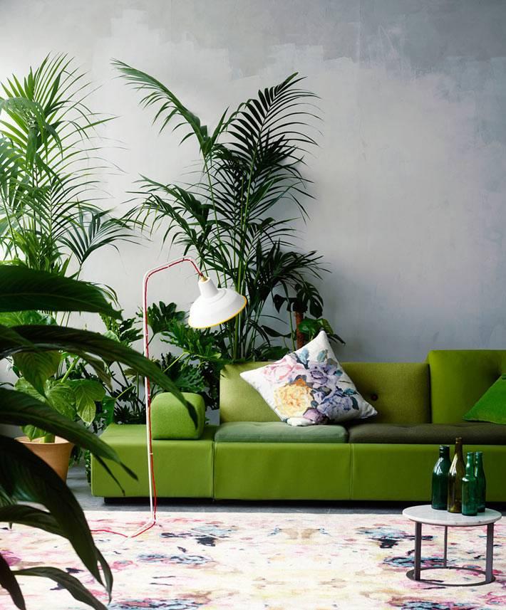 зелень цветов и зеленый цвет в интерьере хорошо сочетаются