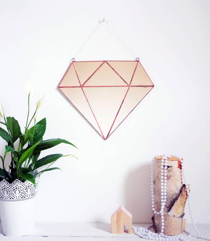 розовое зеркало в форме рубина для женской комнаты