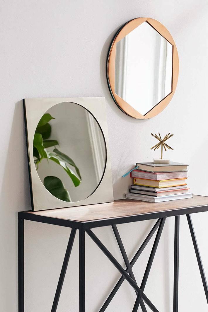 можно комбюинировать зеркала разнлой формы на одной стене