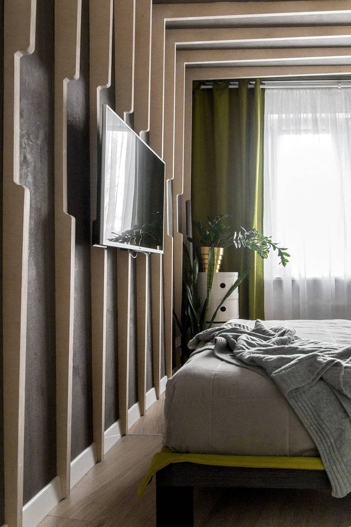 декор из деревянных досок для спальной комнаты