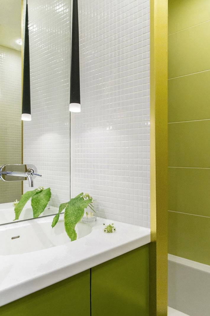 маленький, но яркий интерьер ванной комнаты с туалетом