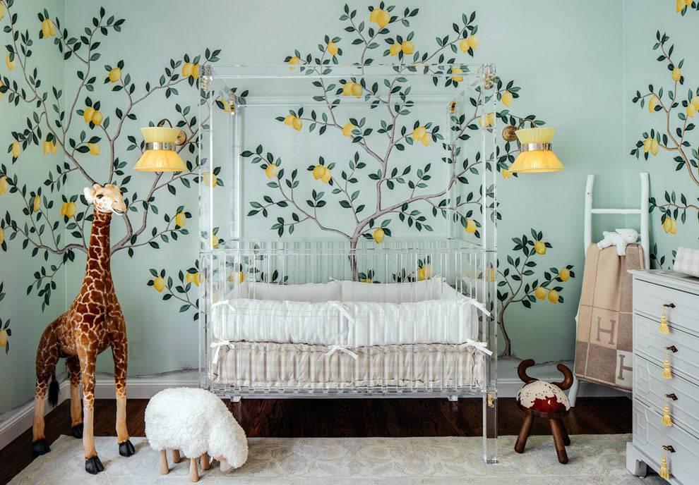 лимонный рисунок на стенах комнаты для младенца фото
