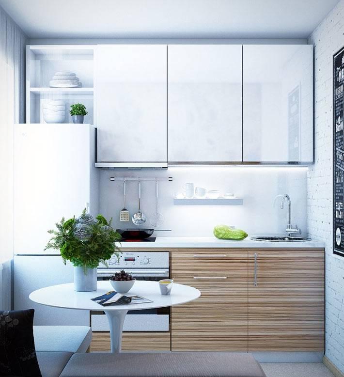 маленькая кухня в хрущевке с белой кирпичной стеной