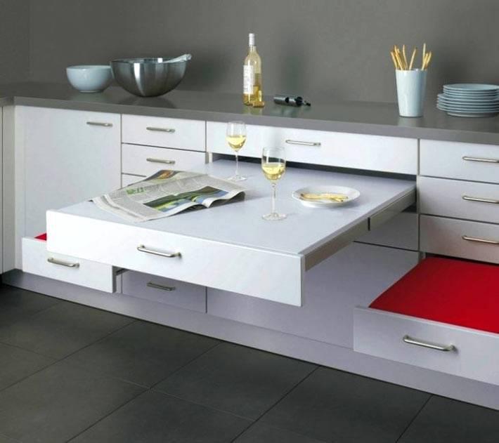 выдвижные системы для увеличения пространства на кухне