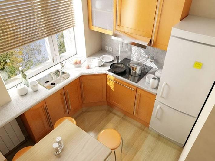 высота кухонного гарнитура вровень с подоконником фото