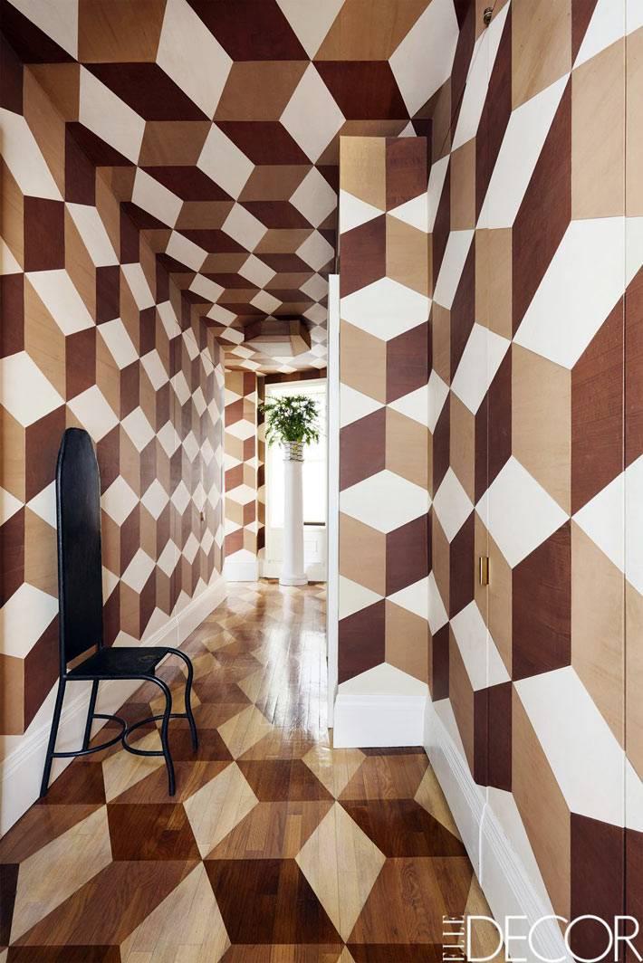 сложный геометрический рисунок на стенах и потолке комнаты фото