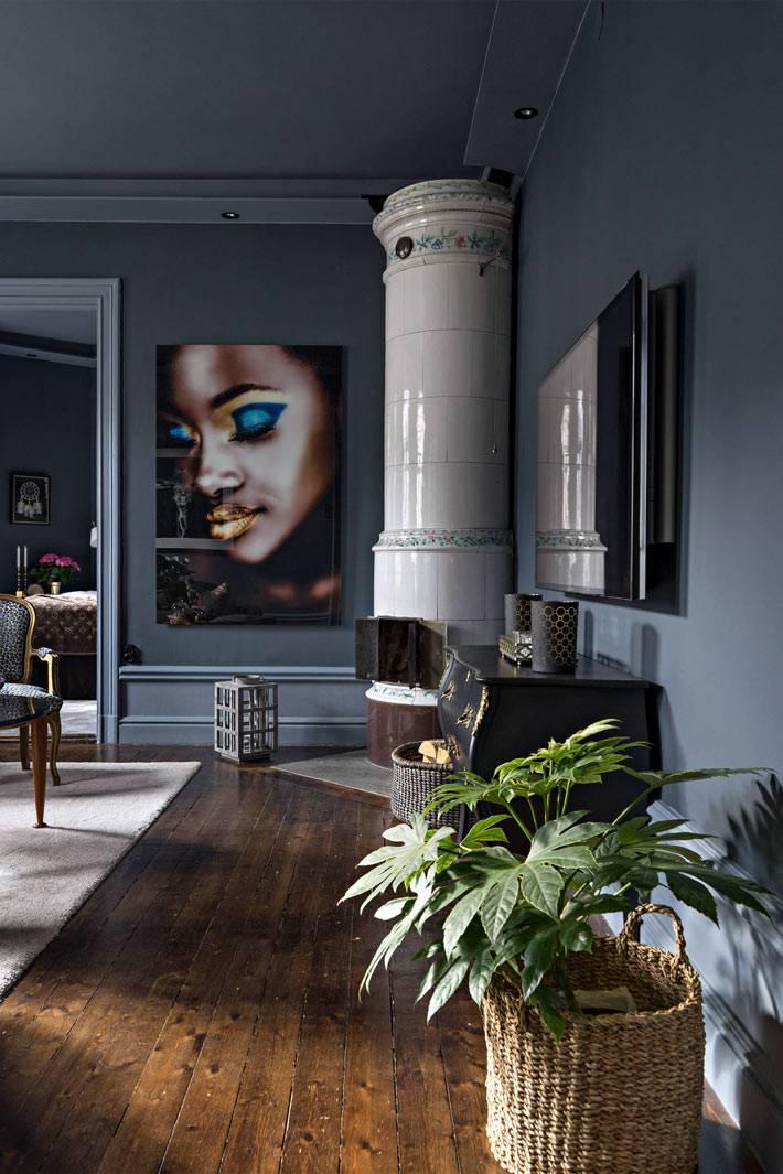 темно-серый цвет на стенах гостиной комнаты