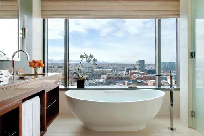 красивая овальная чаша ванной возле большого окна