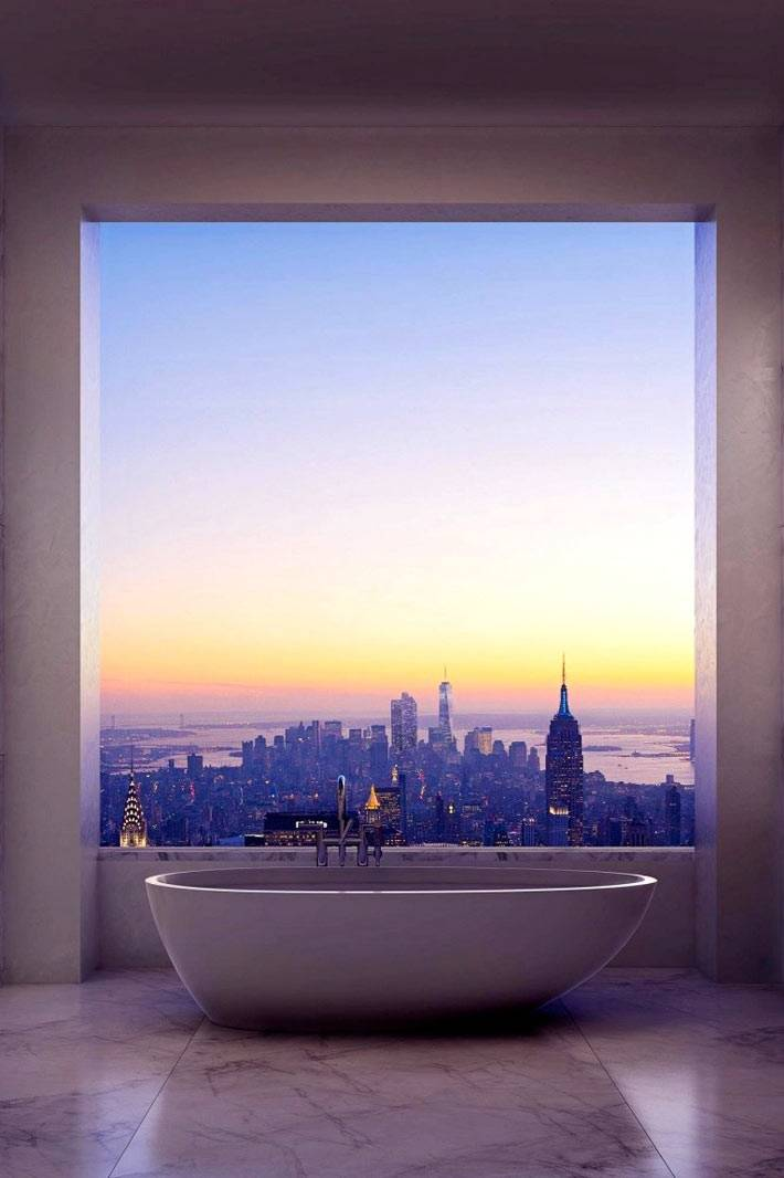 минимализм в ванной компенсирует красивый вид за окном