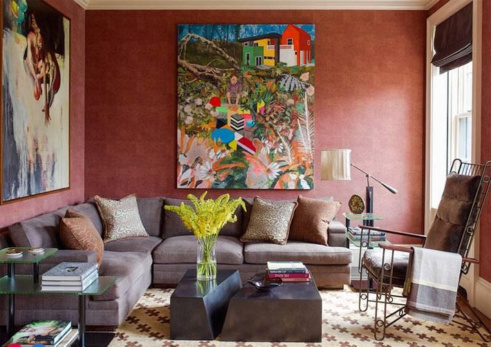 красный цвет для оформления интерьера комнаты отдыха