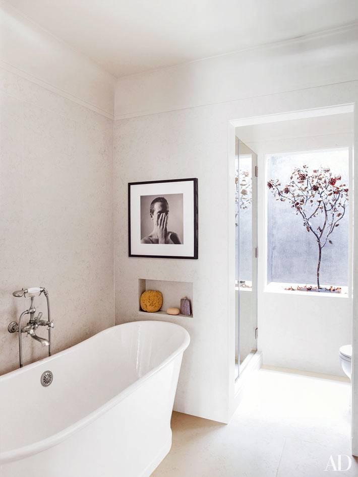 ванная комната в минималистичном стиле с деревом в вазоне