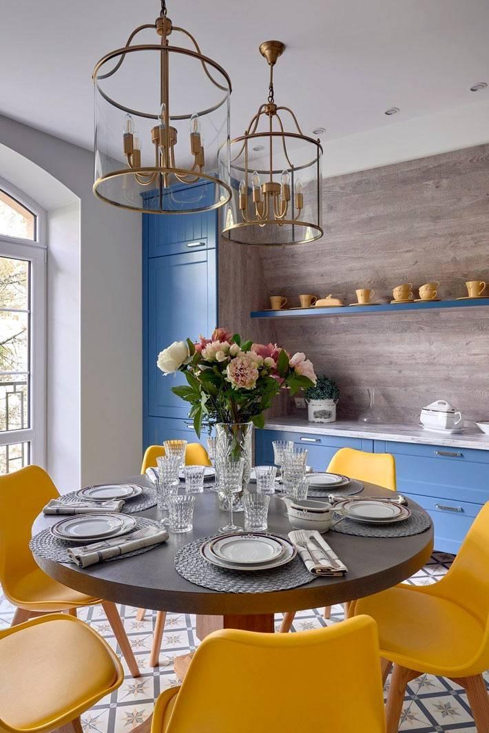 ярко-желтые пластиковые стулья в кухне с синей мебелью