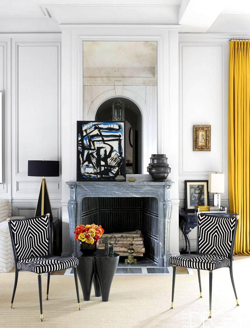 камин - акцентный момент в дизайне гостиной фото