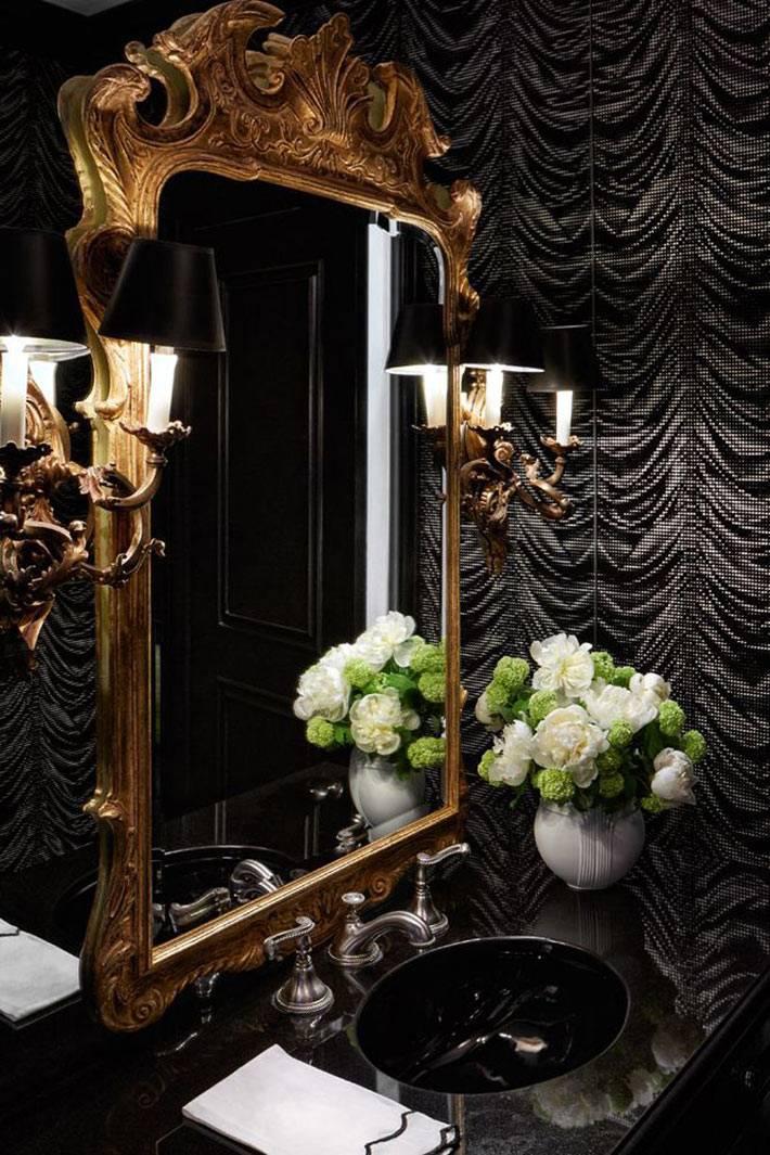 роскошная черная обстановка в интерьере ванной комнаты фото