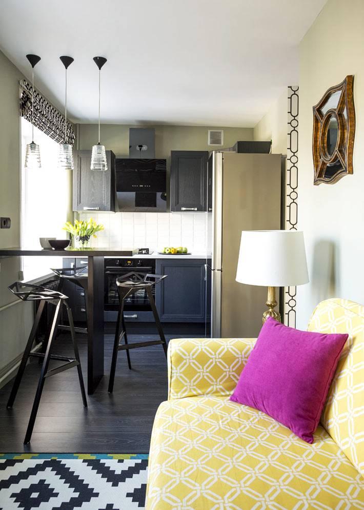 объединенная кухня с гостиной в малогабаритной квартире