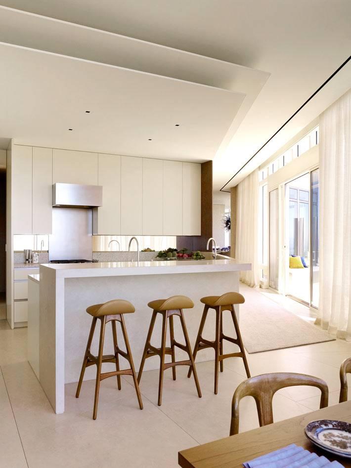 современная кухня в стиле минимализм с барной стойкой
