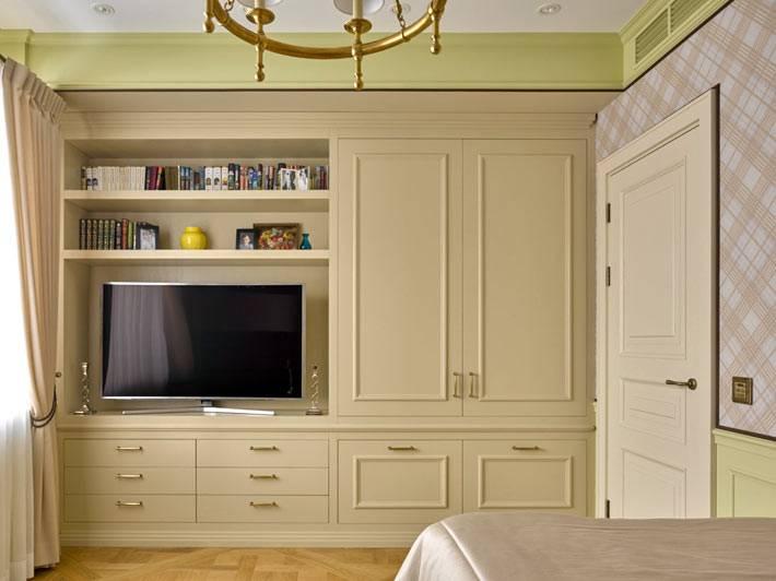 встроенные шкафы под телевизор в детской спальне
