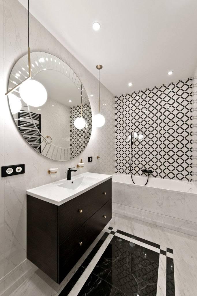 монохромное черно-белое сочетание в ванной комнате