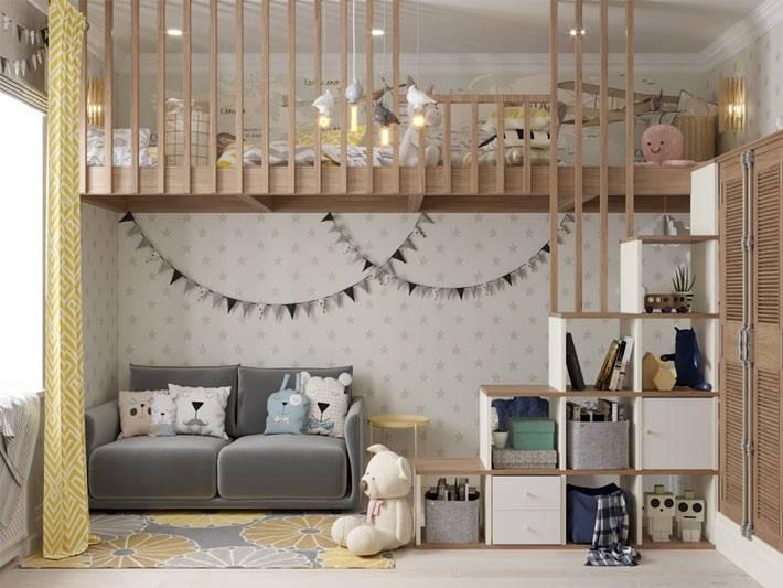 продуманный дизайн детской комнаты в два яруса фото