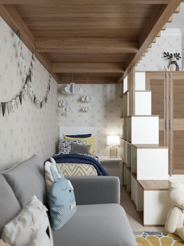 деревянная конструкция для игр в комнате для детей фото