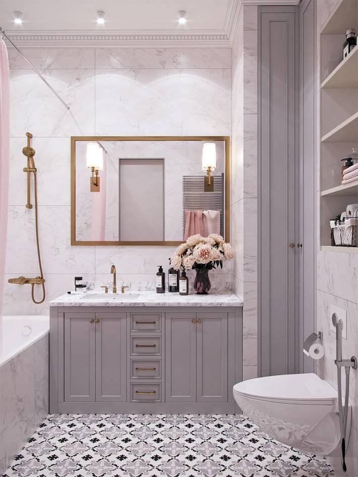 красивая марокканская плитка на полу в ванной фото