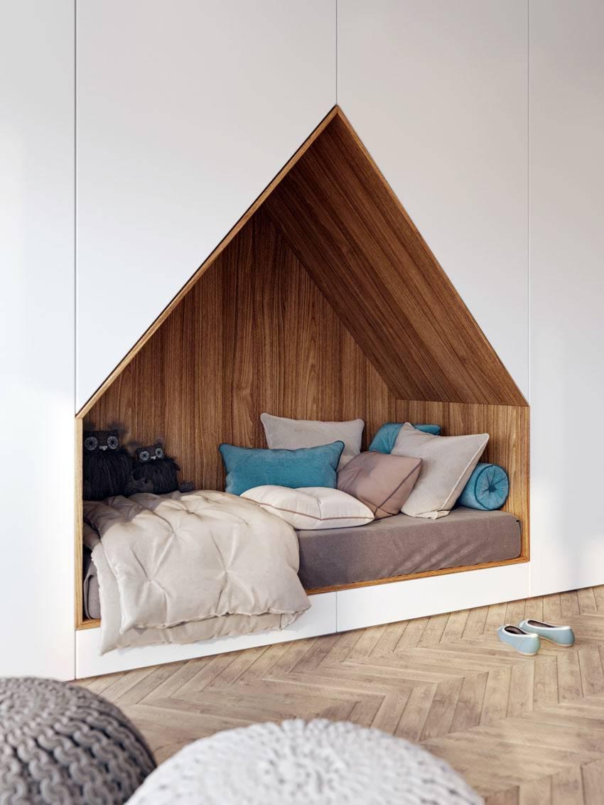 встроенная в шкаф ниша для кровати с матрасом и подушками