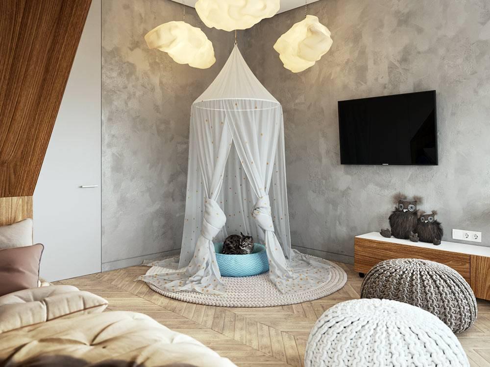 балдахин над домиком для кошки и лампы-облака в детской