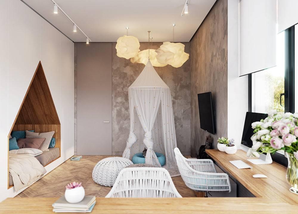 уютная детская комната для подростка с оригинальным дизайном