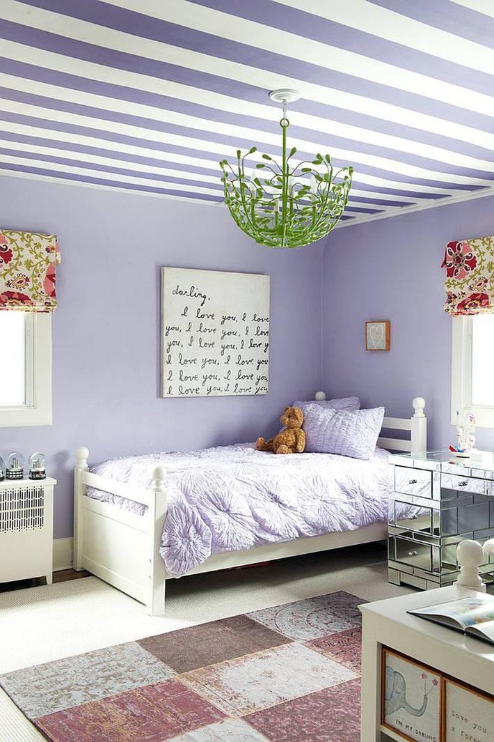 фимолетовый цвет на стенах и потолке в интерьере детской фото