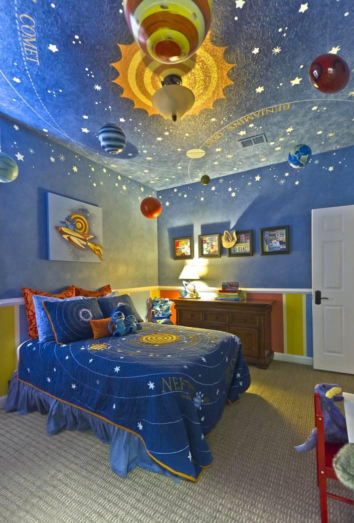 космическая тема для оформления детской комнаты в синем цвете