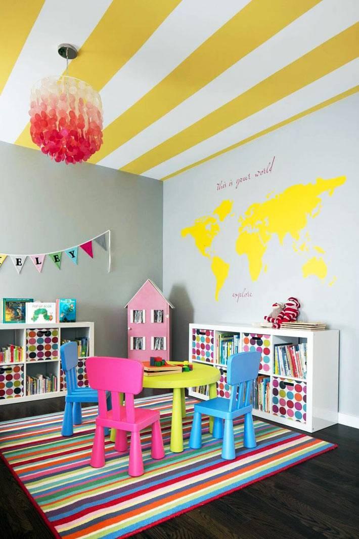 желтые полоски украшают потолок в интерьере игровой фото