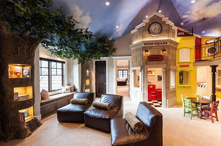 настоящая сказочная комната с замком и ночным небом фото