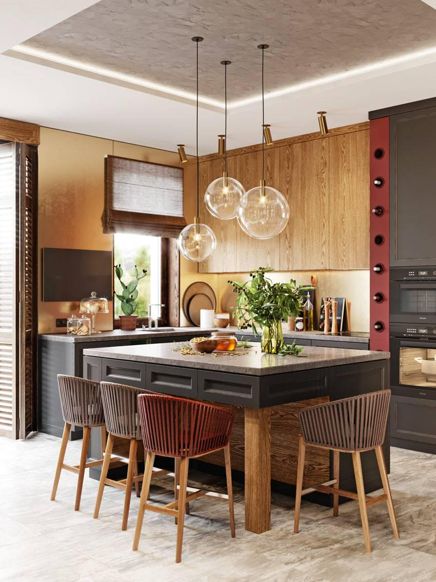 интересная цветовая гамма в дизайне кухни от Алеси Касьяненко фото