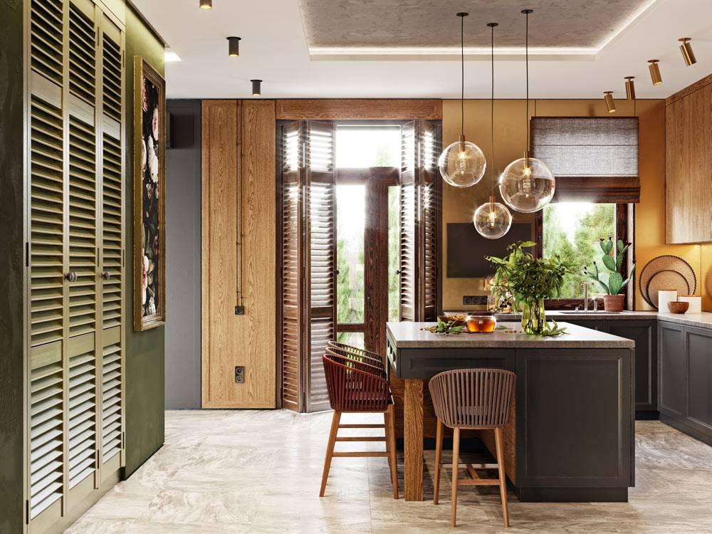 удачное сочетание деревянных материалов в дизайне кухни фото