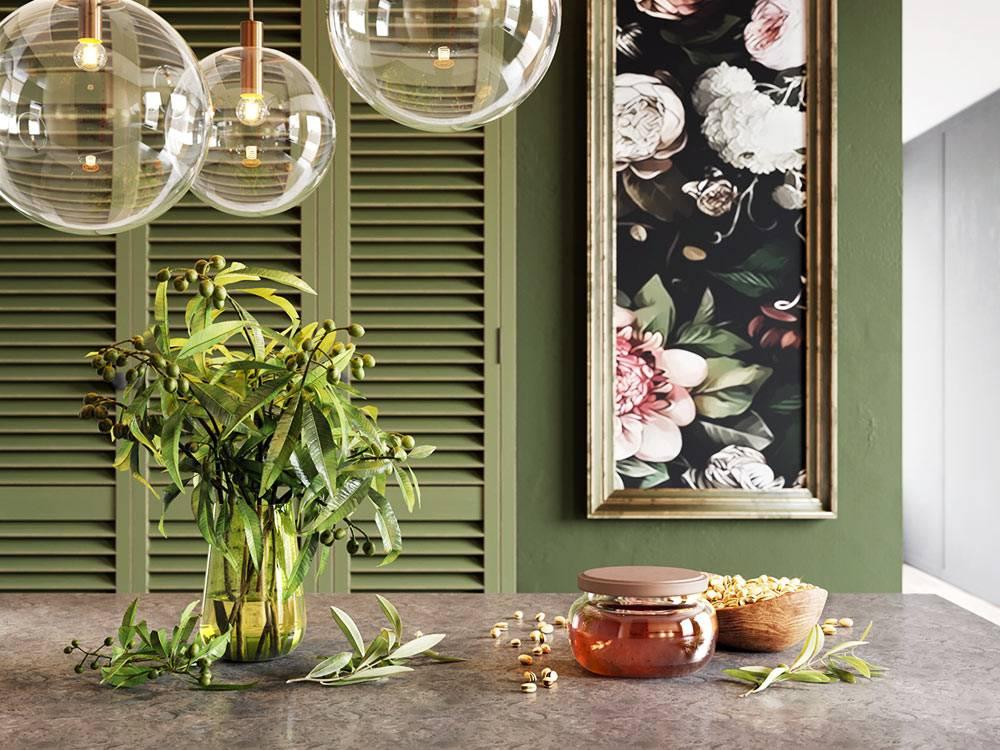 красивый декор на столе и на стенах в дизайне современной кухне