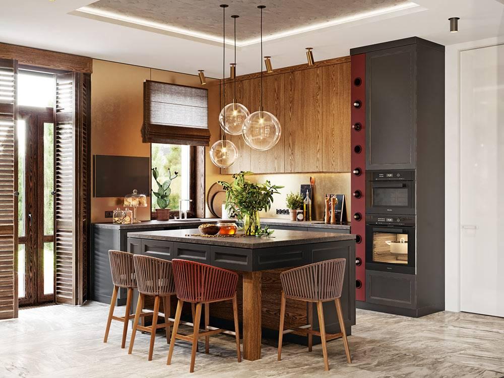необычное сочетание цветов на кухне - черный, винный и зеленый фото