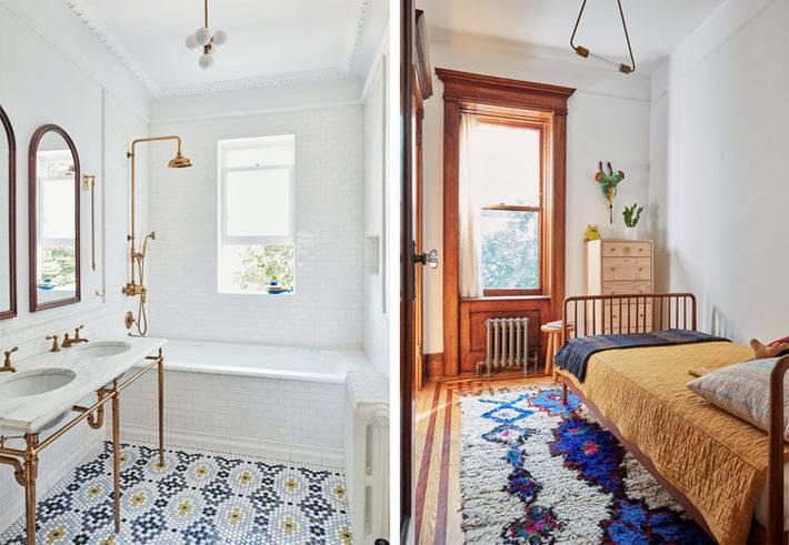 лаконичный дизайн ванной с красивой плиткой на полу фото