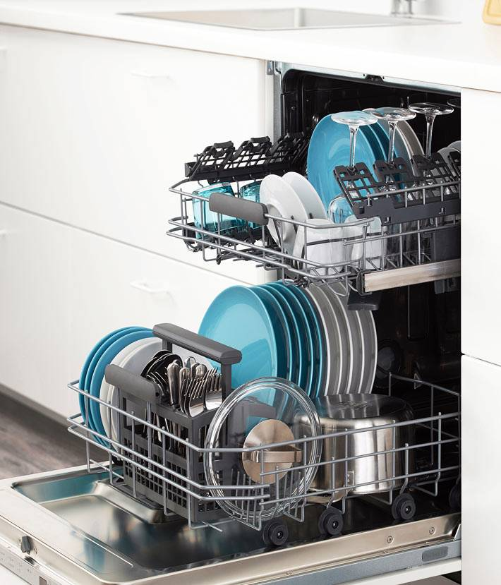 встроенная посудомойка в современной кухне фото