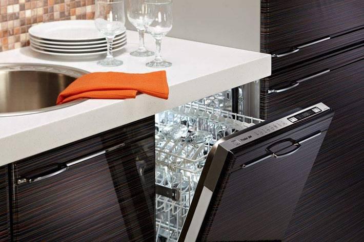 посудомоечная машина размещена возле раковины на кухне
