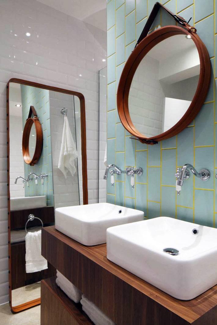 светло бирюзовая плитка в ванной с желтой хатиркой швов фото