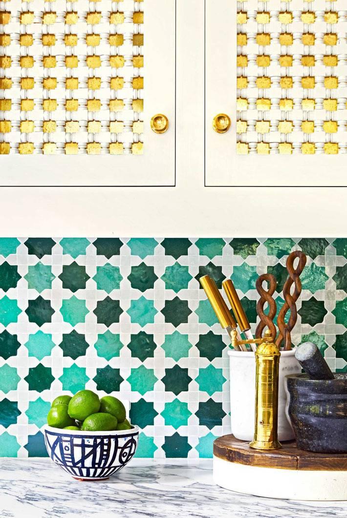 дизайн кухни с красивым сочетанием желтого и зеленого цветов фото