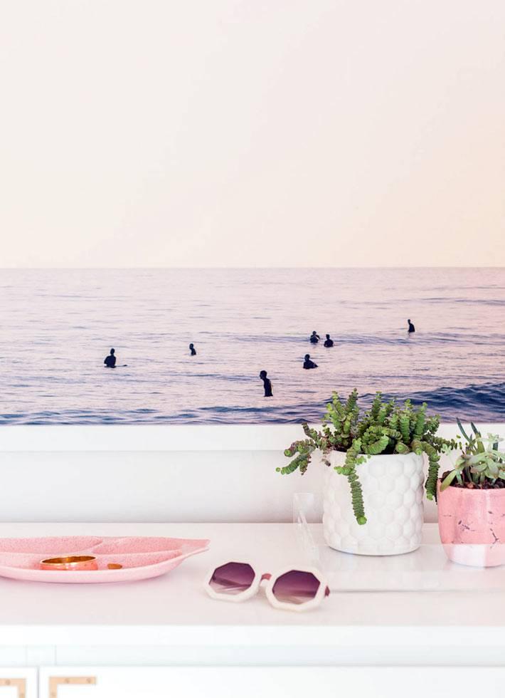 пастельно розовый цвет декора в доме