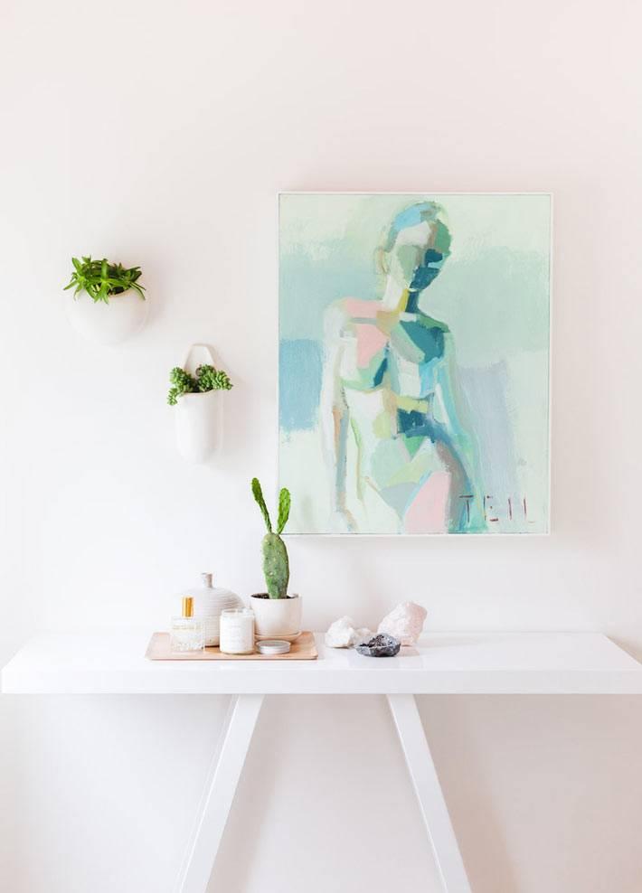 подвесные горшки для цветов на стене фото