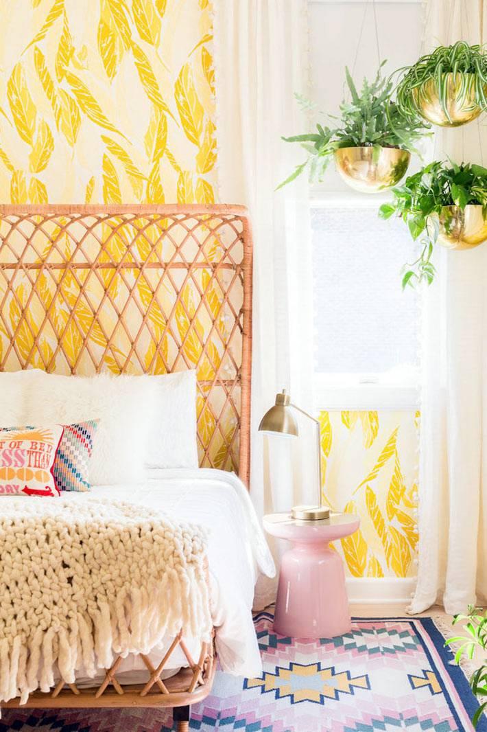 обои для спальни с желтым рисунокм пшеницы фото