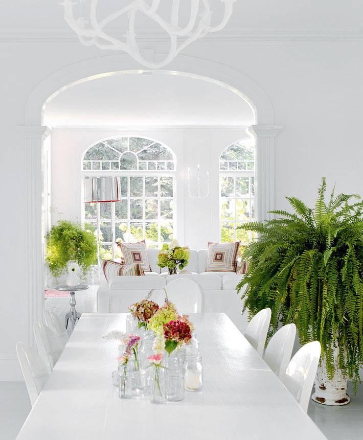 белый интерьер комнаты украшен зелеными растениями в горшках
