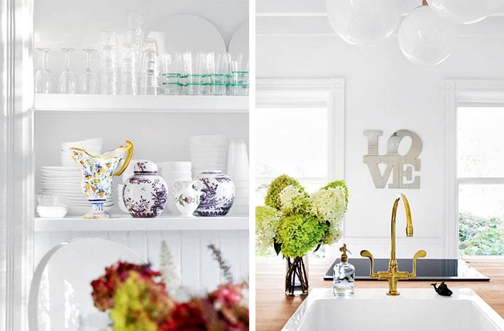хранени красивой посуды и сервизов на отрктых полках в кухне