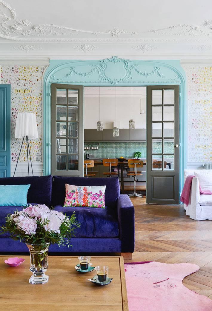 дерзкое сочетание цветов в оформлении интерьра квартиры фото