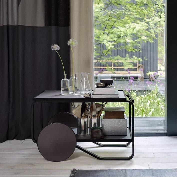 тележка на колесах Альвара Аалто в черном цвете фото