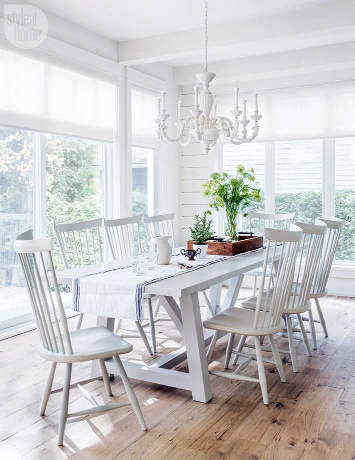 столовая комната белого цвета с панорамными окнами в пол